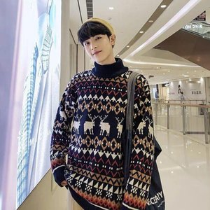 New Christmas Deer Sweater Fashion Men Sweater Knitwear Unisex Streetwear Homme Half Turtleneck Vintage