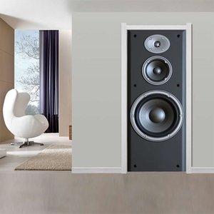 Large Speaker Door Sticker Wallpaper Modern Design Technology Waterproof Vinyl Puerta Deursticker Doors Stickers Home Decor 3D