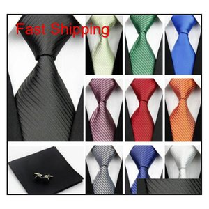 Accessories Ties For Men Solid Striped Pattern Business Silk Tie Sets Hanky Handkerchief Cufflinks Red Bla qylXLx bdefashion