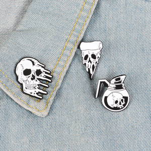 Punk Pins Coffee Flower Pizza Enamel Brooches Lapel pins Punk Dark Jewelry Badges for men women Gifts 0104.