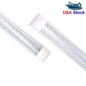 Stock In USA + led fluorescent tube V-Shaped Integration T8 Tube Lights Double row 2ft 3ft 4ft 5ft 6ft 8ft Cold White 6000-6500K 2ft led