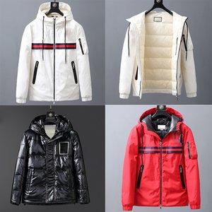 Jacket bordados Cartas Moda de Down Homens Outdoor Quente Jacket Feather Inverno down-cheia Brasão Outwear preto branco Jaqueta Parka com capuz Grosso