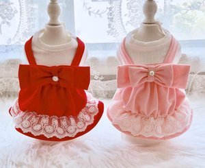 Girl Dog Cat Dress Shirt Big Bow Design Pet Puppy Spring Summer Clothes Outfit 5 Sizes 2 Colors