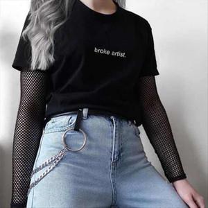 Broke Artist Black Graphic T shirt Letters Printed Tumblr Gurnge Aesthetic Tee 80s 90s Girls Fashion Cool T Shirt Harajuku Tees
