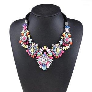 2020 NUOVO Dichiarazione Chokers Collane Donne Crystal Acrylic Rainbow Flower Shourauk collana femme collana etnica gioielli1