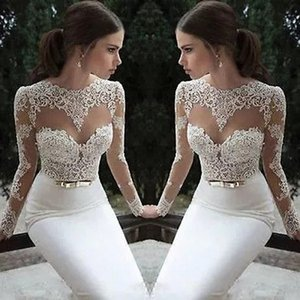Classic Berta Wedding Dresses Sheath Jewel Sheer Neck Long Sleeves Bridal Gowns Boho Garden Beach Lace Appliques robes de mariée AL7157