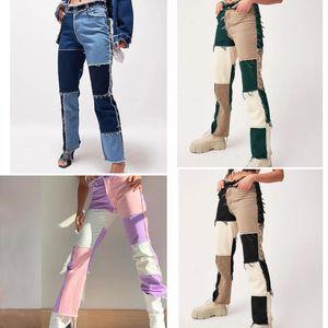 Women Jeans Patchwork Skinny High Waist Jeans for Women Sportswear Cargo Pants Joggers Skater Jeans Buttock Tube Pants