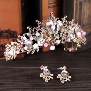 New arrival hair jewelry women fashion headbands bridal crown earrings set festival Birthday gift
