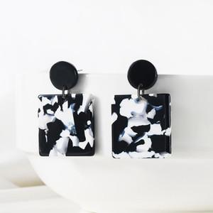 WYBU Acetate Fiber Plate Marble Pattern Square Pendant Drop Earring For Women Black White Glossiness Earring Light Ear Jewelry
