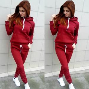 2020 Yeni Geliş FallWinter Casual kapüşon 2adet Kadın Eşofman Coat + Pantolon Suit Egzersiz Kazak Şarap Kırmızısı 3Colors Hot