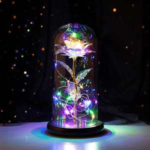 Romantic Eternal Light Rose Flower Glass Cover Beauty And Beast LED Battery Lamp Birthday Valentine's Day Mother Gift Decoration