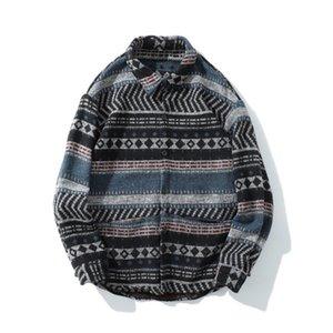GONTHWID Geometric Striped Long Sleeve Shirts Men Hip Hop Button Down Dress Shirt Streetwear Hipster Fashion Casual Shirts Tops J1216