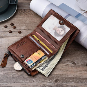 Genuine Leather Men Wallet Short Coin Purse Small Vintage Cowhide Wallets Brand Designer Clutch Cheap Small Brand Card Holder