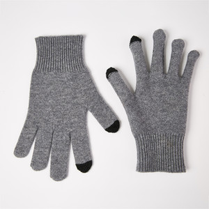 S9303 Autumn Winter Full Finger Warm Mittens Touch Screen Solid-Color Warm Wrist Gloves Women Men Wool Knitted Gloves 201021
