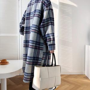 FORYUNSHES 여성 겨울 모직 코트 2020 여성 격자 무늬 레트로 두꺼운 롱 자켓 Outercoats 한국어 스타일 착실히 보내다을 따뜻하게 인쇄