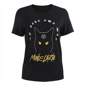Girls Gothic Pentagram Symbol Pattern Cat Letter Print T shirt Harajuku Casual Tumblr Female Tops Tee Summer Women T Shirts