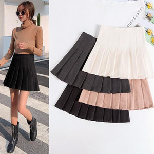 Newest Women Solid Color High Waist A-Line Skirt Softs Ladies Japan Style Empire Mini Short Skirt Pleated Para Mujer 2021