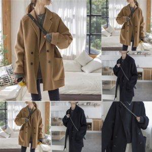 VB1 Korea Grid Gird Plaid Overcoat e lana Donna Trench Uomo Casual Slim Style Lana allungamento di lana Addenori di lana Designer Lavern OverCoat Uomo