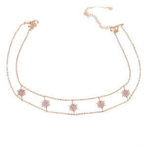High quality romantic snowflake charm double Layer rose color choker delicate sparking tiny cz necklace women girl charm Jewelry