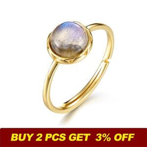 ALLNOEL 925 Sterlingsilber-Ring für Frauen aus 100% natürlichen Labradorit Edelstein 1.3ct realer Gold-Verpflichtungs-justierbarer Finger-Ring 201116