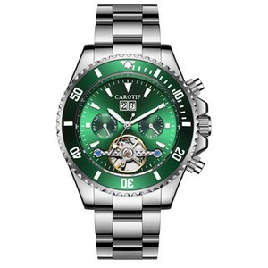 Saatı Carotif İş Otomatik İzle Yeşil Hayalet Erkek Mekanik Saatler Erkek Üst Paslanmaz Çelik Relogio Masculino