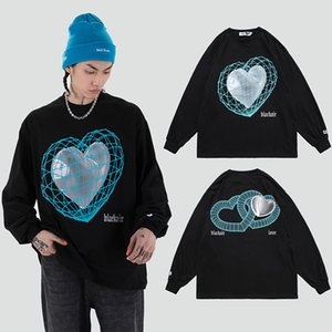 Pattern Print Long Sleeve Tshirts Men and Women Oversize Streetwear Crew Neck Cotton T-shirt