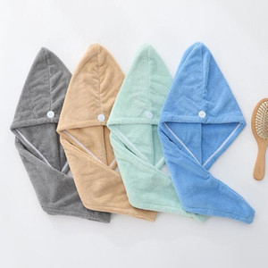 Hair Drying Hats Microfiber Quick Dry Towel High Density Coral Fleece Magic Super Absorbent Turban Wrap Hat Spa Cap CGY78