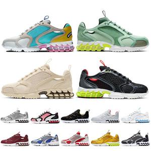 Nike Stussy x Air Zoom Spiridon Cage 2 الأسهم x أعلى جودة رجل إمرأة الاحذية الرمال الكاردينال الأسود الرمادي الثلاثي الأبيض أحذية رياضية المدربين
