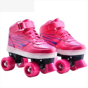 High Quality four-wheel luminous shoes, children's roller skates, fixed code USB charging double-row roller skates