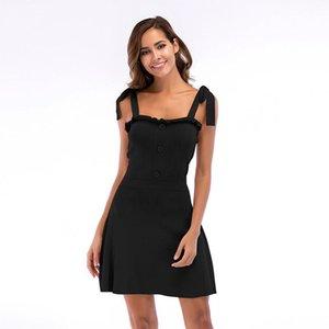 Womens Designer Strap Knit Suspender Dress Skirt