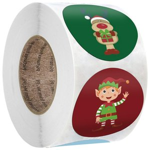 500PCS Roll Christmas Stickers Gift Decoration Sticker Packaging Stationery Sticker Happy Holidays Decoration Seal Label OWA1658