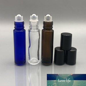 Thick 1 3Oz 10Ml Essential Oil Roller Ball Bottle with Stainless Steel Roller Refillable Perfume Deodorant Containers Tube Clear Amber Blue
