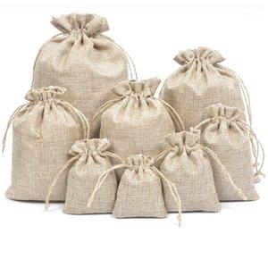 5 قطع الكتان jute أكياس الرباط هدية أكياس 5 حجم حقيبة الأورجانزا النبيذ زجاجة غطاء التفاف هدية الحقيبة المنزل تخزين الزفاف عيد ميلاد 1