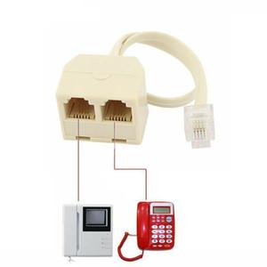 6P4C RJ11 2 Way Telephone Plug to RJ11 Socket Adapter Connector Splitter for Landline Telephone Cable (2Pcs)