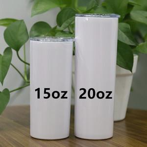 US Shipping! Garrafas de água de aço 20 onças sublimação magro Tumblers inoxidável Isolamento duplo Magro Vacuum Copos de café beber leite canecas A12