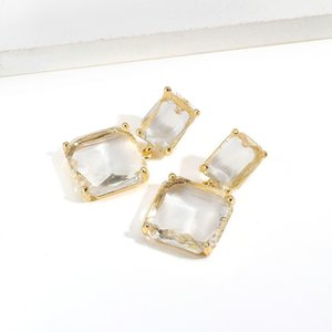 Korean Earrings Golden Geometric Transparent Square Glass Crystal Wedding Earrings for Women Accessories Fashion Jewelry