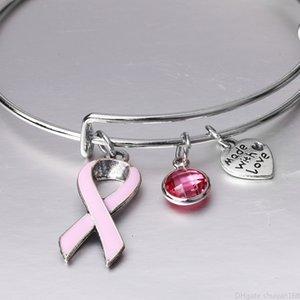 Brustliebe Rosa Armbänder Einstellbare Bandkrebs Charm Herz Armband Armreif Für Frauen Pflege Überlebende Schmuck Geschenke