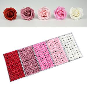 Valentinstag Geschenke SOAP Rose Blumen 4-Lagen Curling Welle Blume Große Blume Kopf Seifenblume Geschenkboxen Bouquet Material GWD4248