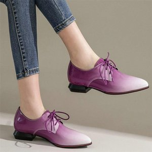 Chic Shoes Women Lace Up Patent Leather Low Heel Ankle Boots Female Pointed Toe Platform Pumps Shoes Shallow Casual Travel MGsO#