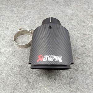 1 шт. Матовый матовый матовый черный углеродное волокно акраповическую выхлопную систему автомобиля универсальный нержавеющая сталь AK глушитель