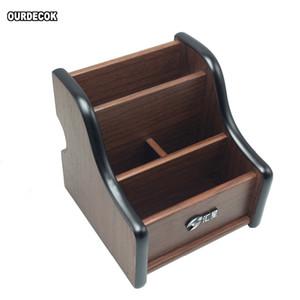 Creative Wood Board Remote Control Storage Box Phone Knife Pen Coffee Table Stand Desktop Board Storage Box Brown Q0120