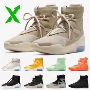 Nike Air Fear of God 1 Stock x دقيق 2020 الخوف من الأحذية الله المرأة رجل 1 كرة السلة الثلاثي الأسود سلسلة السؤال تبادل لاطلاق النار نحو رجال الرياضة المدربين أحذية رياضية