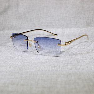 Vintage Leopard Randlose Sonnenbrille Ovale Sonnenbrille Metallrahmen Shades Männer Für Sommer Outdoor Klare Gläser zum Lesen 166