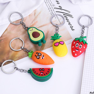 Girl Heart Simulation 3D Avocado Keychain Bag Coin Purse PVC Soft Toy Pendant 5 styles DHL