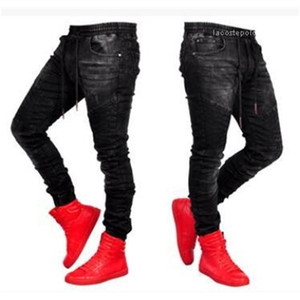 Ropa Cintura elástica Jean Pantalones Pantalones largos Pantalones Black Sports Jogger Jeans para hombre