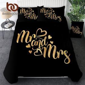 BeddingOutlet Conjuntos de ropa de cama de lujo Letras románticas Cubierta de edredón para pareja colchas Sr. Y Sra. Set de cama Golden Set Valentines Regalo 201021