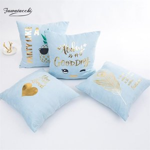 Fuwatacchi Gold Stamping Cushion Covers Blue Pink Feather Heart Pillow Case For Home Chair Sofa Decoration Square Pillowcases1