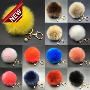 2018 Nuova Pelliccia di coniglio 8 cm Fluffy Pompom Ball Handbag Auto Pendant Charm Keyring Keyrings Spedizione gratuita Nuovo arrivo