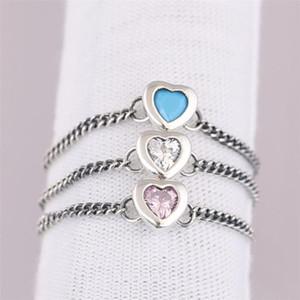 Nueva Spirited Heart Ring, joyería de cristal azul cian claro rosado CZ para la mujer eslabón de la cadena del anillo de la novia de regalo