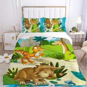 Kids Cartoon Bedding Set para Crianças Bebê Berço Meninos Duvet Cobertura Conjunto Fronha Cobertor Cobilt Cobertura 100x120 / 140x210 Dinossauro LJ201127
